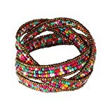 Susenstone®Lady Bohemian Beaded Bangle Bracelet Multilayer Jewelry
