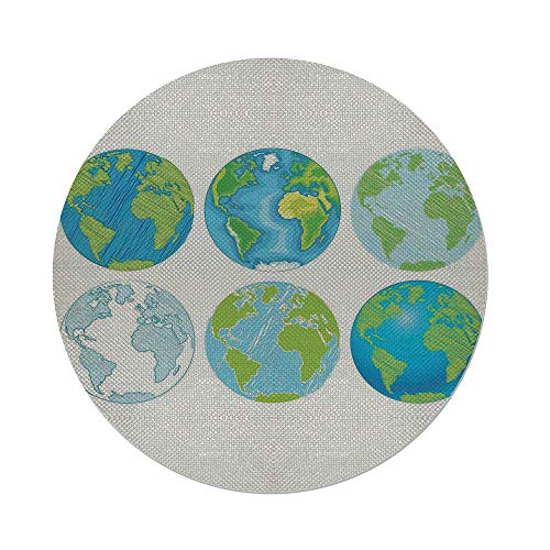 Maple Atlantic Desk (Cotton Linen Round Tablecloth,Wanderlust Decor,Illustration of Different Drawings of the World with Atlantic Sea Artwork Deco,Blue Green White,Dining Room Kitchen Table Cloth Cover)
