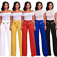 VERTTEE Women High Waist Zipper Loose Full Length Woman Pant Casual Wide Leg Long Women's Pants