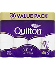 Quilton 3 Ply Toilet Tissue (180 Sheets per Roll, 11x10cm), Pack of 36