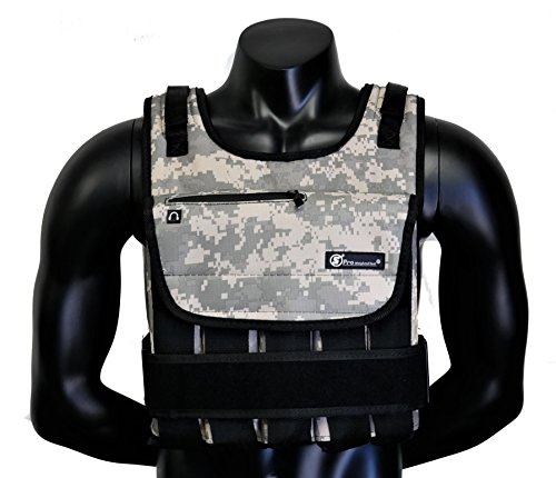 Strength sport systems Weight Vest (Short) - Premium Quality - Best for Cross fit Training - Running - Jogging - Fully Adjustable (S pro Weight Vest) (Pro II - Camouflage, 40lbs(Iron ore Bags))