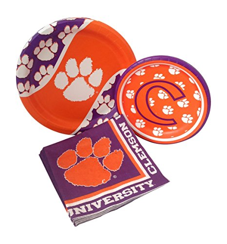 Clemson University Tigers Party Supply Pack! Bundle Includes Paper Plates & Napkins for 8 Guests ()