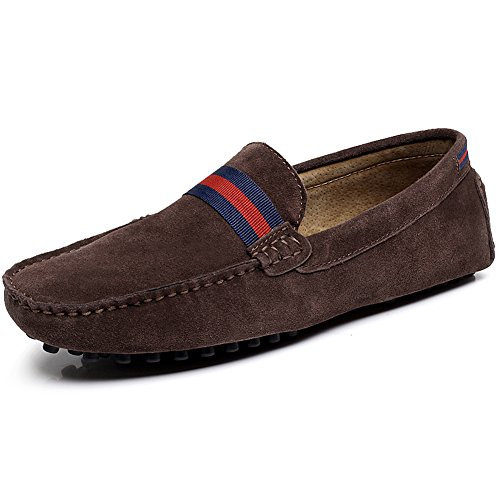 a04e7894c21 Shenn Men s Fashion Strap Slip-On Suede Leather Loafers Shoes ...