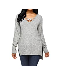 Luxspire Women's Deep V-Neck Long Sleeve Pullover Knit Sweater