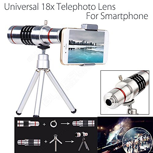 Aluminum 12x or 18x iPhone Telephoto Lens For Smartphone Lens Cell Mobile Phone Lens Optical Telescope Camera Zoom Lens + Clip Holder + Tripod Kit Universal For Samsung and other Phones (18x Lens Kit) from Motor-acc