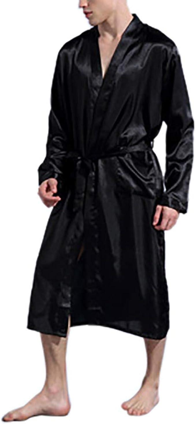 KOERIM Men's Silk Cardigan Kimono Robe with Sash,Long Sleeve House Kimono Bathrobe