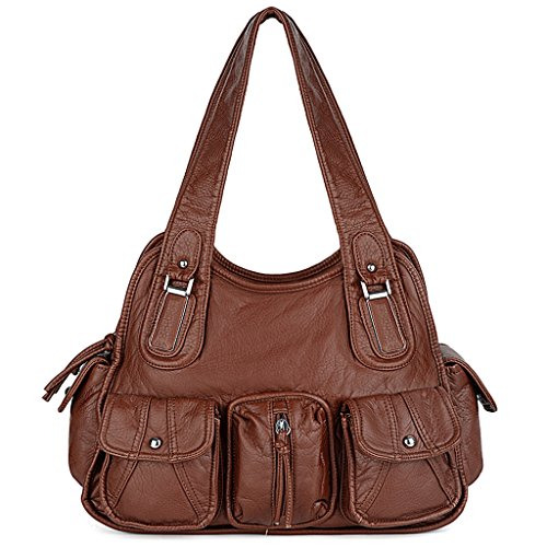 UTO Women Handbag PU Leather Multi Pockets Washed Shoulder Bag Brown