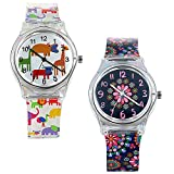 Lancardo 30M Waterproof Kids Transparent Jelly Watch Japan Citizen Quartz Animal Flower Print (2PCS)