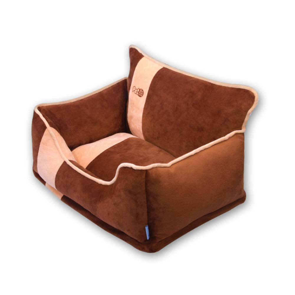 Brown L brown L ZKK Warm Dog Bed with Reversible Cushion Washable,Available in sizes SMALL, MEDIUM and LARGE