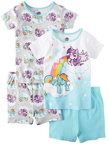 My Little Pony Girls' Four-Piece Pajama Short Set (4, Blue/White)