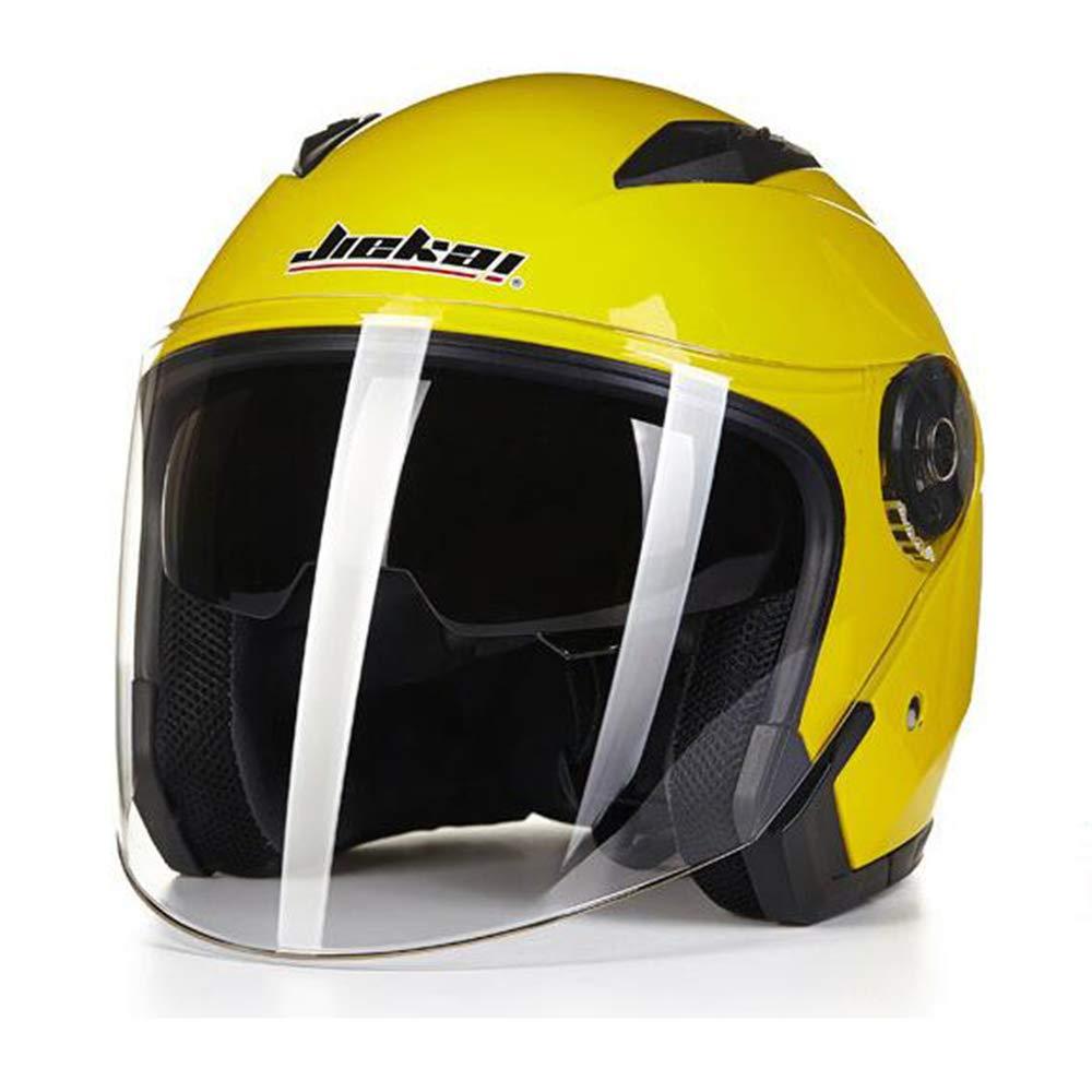 ZDHG Casco Moto,Casco Moto Aperto Casco Parasole Jet Visiera Stile retr/ò Unisex,Yellow,XXL