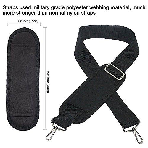 JAKAGO 150cm Universal Adjustable Shoulder Straps Replacement Bag Straps with Metal Swivel Hooks and Non-Slip Pad for Duffel Bag Laptop Briefcase Violin Bag Camera Travel Bag (Black) by JAKAGO (Image #1)