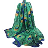 Fashion Scarves UV Protection Shawl Soft Comfortable Mulberry Silk Peacock Feather Windproof Green Long Scarf