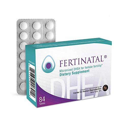 Fertinatal Micronized DHEA for Female Fertility – Natural 25mg DHEA Fertility Supplement for Women - 75mg per 3-Tablet Servings