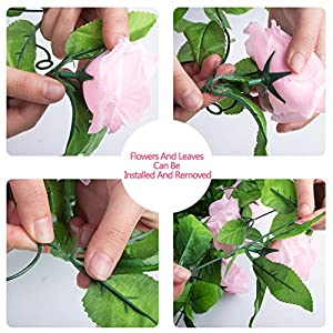Miracliy 2 Pack 15 FT Fake Rose Vine Flowers Plants Artificial Flower Home Hotel Office Wedding Party Garden Craft Art Décor, Pink 5