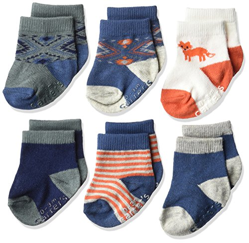 Carter's Baby Boys' 6 Pack Computer Socks (6 Pack),  Fox- Blue, Orange, White, 3-12 Months]()