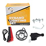 HuntGold Bike Bicycle Dynamo Head&Rear Lights Set Cycle Power Safety No Batteries Needed