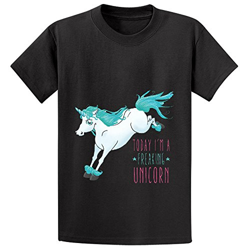 Price comparison product image Chas Today Im A Freaking Unicorn Unisex Crew Neck Customized T Shirt Black
