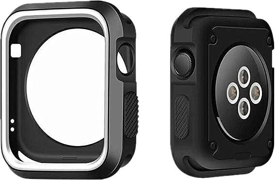 TALLA 44. Compatible para Apple Watch Series 6/5/ 4 SE Silicona Resistente a los Parachoques a Prueba de Agua Protector a los Impactos para la Caja del Reloj de Apple Watch 40mm 44mm