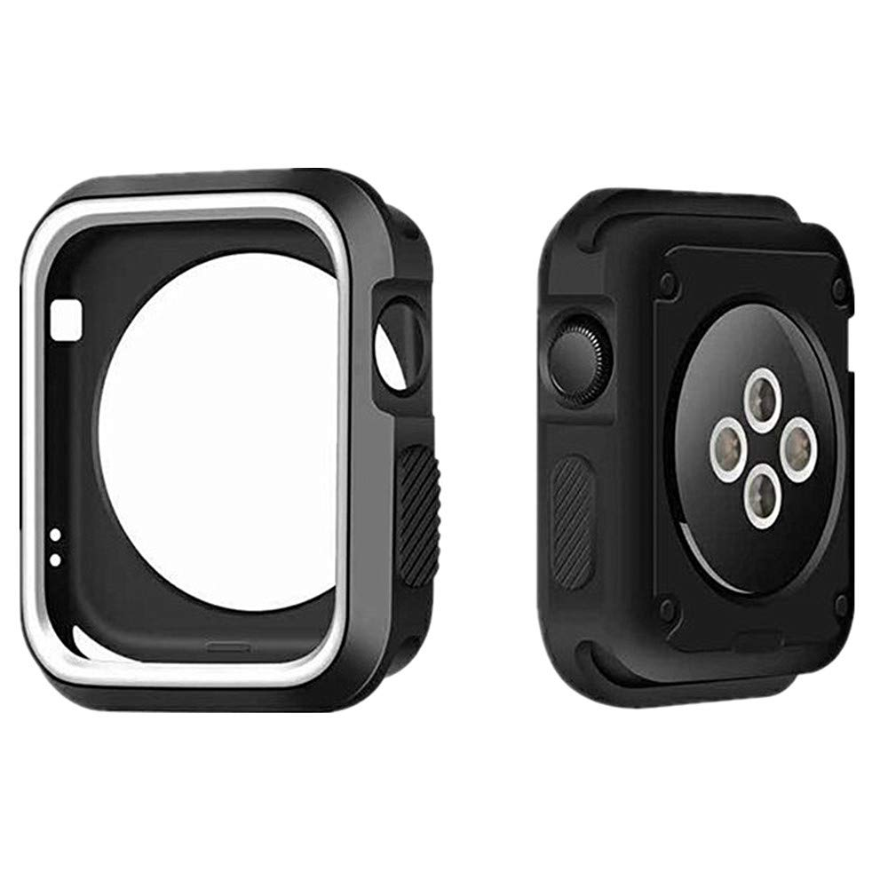 TALLA 44mm. Apple Watch Funda Series 4 Silicona Resistente a los Parachoques Resistente a Prueba de Agua Protector Resistente a los Impactos para la Caja del Reloj de Apple (40mm/44mm)