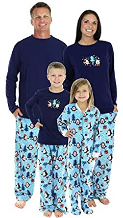 SleepytimePjs Family Matching Winter Penguin Fleece Pajamas PJs Sets for The Family-Kids - Nightgown (STMF-3026-K-3500-3T)