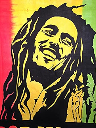 Amazon.com: One Love Bob Marley Tapestry in Jamaican Colors, Wall ...