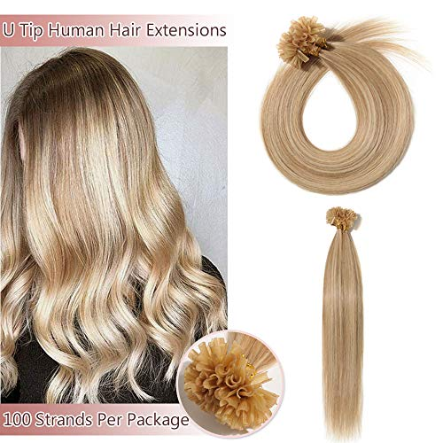 U Tip/Nail Tip Remy Human Hair Extensions 100 Strands Per Package Pre Bonded Italian Keratin Fushion Hairpiece Long Straight Silky For Women #18P613 Ash Blonde&Bleach Blonde 22 inches 50g
