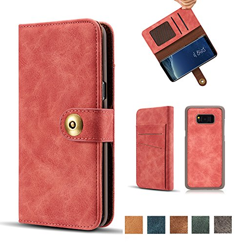 Galaxy S8 Case, Vintage 2 in 1 [Magnetic Detachable] Flip Folio Wallet PU Leather Cases Removable Retro [4 Card Slots] Protective Bag Cover with Card Holder for Samsung Galaxy S8 - Red