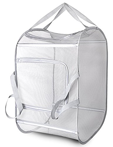 Daly Kate Pop-Up Mesh Laundry Hamper Basket with Double Opennings and Reinforced Handles Grey