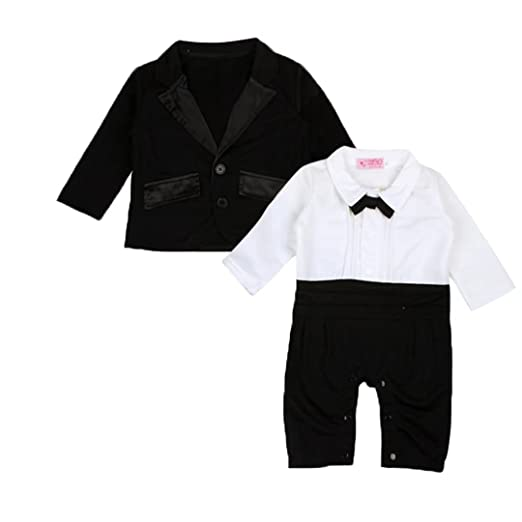 9bc5a040 kids Showtime Baby Boy's 2PCS Gentleman Romper Wedding Formal Tuxedo Suit  Outfit Set(Black&White,