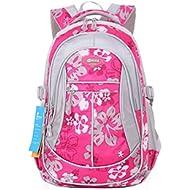 Girl Flower Printed Primary Junior High University School Bag Bookbag Backpack(Style A Rose,24...