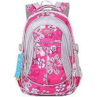 JiaYou Girl Flower Printed Primary Junior High University School Bag Bookbag Backpack(Rose,24 Liters)