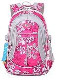 JiaYou Girl Flower Printed Primary Junior High University School Bag Bookbag Backpack(Style A Rose,24 Liters)