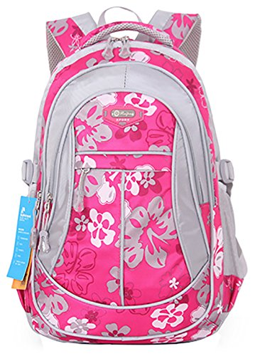 JiaYou Kid Child Girl Flower Printed Backpack School Bag(Rose,Large)