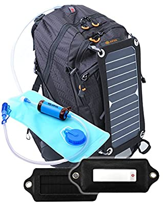 SolarSak water filtering solar hydration backpack with LED attachment- 7W SUN PIECE panel - SUN STRAW water filter - MOON PIECE solar LED light with three modes and carabiner/suction cup