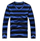 SDHEIJKY men's long-sleeved cotton stripes sweater fashion pullover