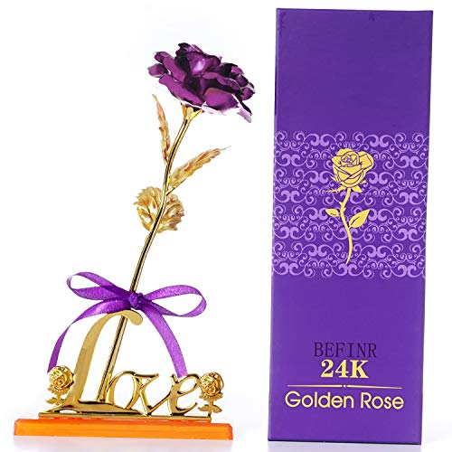 BEFINR 24K Gold Artificial Forever Rose Flowers Gifts for Women, Mom Teen Girls Girlfriends Grandma for Valentine's Day, Anniversary, Birthday and Mother's Day (Purple)