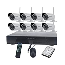 Wireless CCTV Security Camera System, JideTech 8CH 1.0 MegaPixels 720P Wireless Bulllet Camera, with 2TB HDD, IR Range 50-60Feet,iPhone7/6S/6 and Android Phone Live On-Line Home Security System