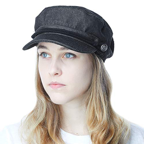 THE HAT DEPOT Black Horn Unisex Cotton Greek Fisherman's Cap (S/M, Black Denim)