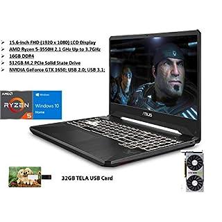 2020 Newest ASUS TUF FX505DT-UB52 Gaming Laptop, NVIDIA GeForce GTX 1650 with 4GB GDDR5, 16GB RAM, 512GB PCIe SSD, Webcam, Bluetooth 5.0, Win10 Home, Stealth Black | 32GB Tela USB Card