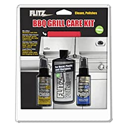 Flitz BBQ Grill Care Kit w/Liquid Metal Polish, Stainless Steel Cleaner, Stainless Steel Polish & Microfiber Cloth - 1 Year Direct Manufacturer Warranty