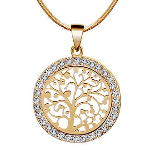 Les Bohémiens Tree of Life Gold Tone Family Pendant Necklace with Sparkly Rhinestone Crystals for Christian Mom, Wife, or Girlfriend - Box, Card & Envelope Included for Easy Gifting