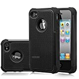 iPhone 4s Case, iPhone 4 Case, MANDYCOWRY Solid Shockproof Stylish Design Dual Layer Protection Defender Cover(Black/Black)