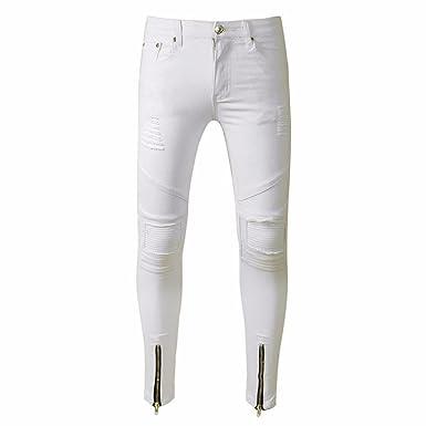 3ae4ae26a Rameng Jeans Homme, Déchiré Styles Fermeture Eclair Trou Mode Biker Jeans  Slim Destroyed Straight Denim Pantalon