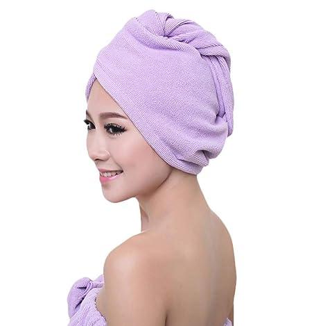 Vdual - Toalla de Pelo para Mujer, Secado rápido, Toalla Turbante de Microfibra,