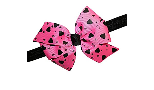 "WD2U Baby Girls 5/"" Pink /& Black Heart Valentines Hair Bow Stretch Headband"