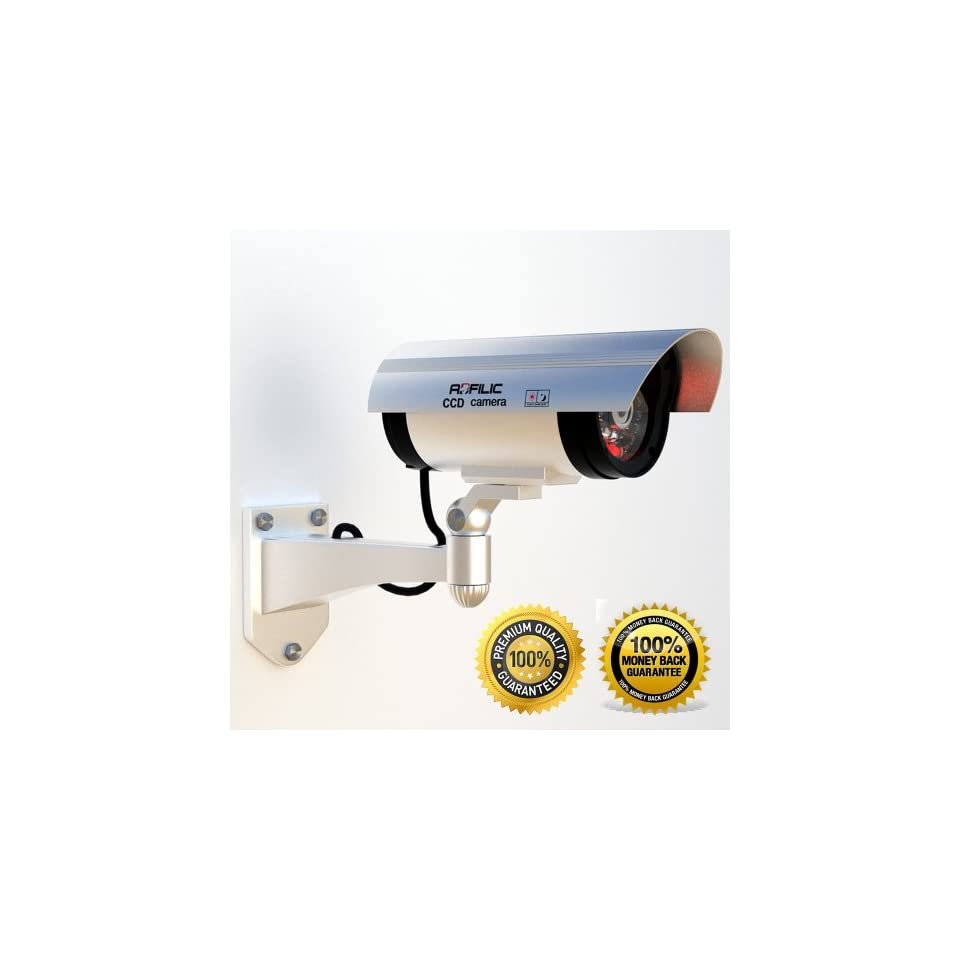 Adfilic Dummy Security Camera   Best for Outdoors, Blinking Light & Solar Waterproof Fake Camera with Free CCTV Sticker, Makes a Great Gift