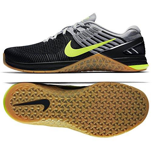 Nike - Scarpe Metcon DSX da uomo, in tessuto flyknit, colore grigio/grigio-nero Wolf Grey/Volt-wolf Grey-black