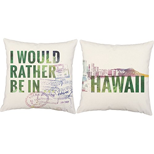 Set of 2 RoomCraft I'd Rather Be In Hawaii Throw Pillows 20x20 Inch Square White Outdoor Destination Travel Cushions by RoomCraft