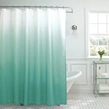 Creative Home Ideas Ombre Waffle Weave Shower Curtain with 12 Color Coordinated Metal Roller Rings, Marine Blue